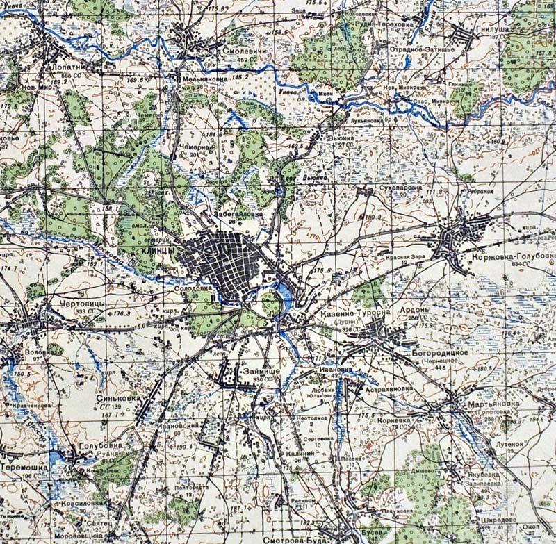 Карта Клинцов и Клинцовского района Генерального Штаба Красной армии 1941 года