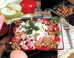Салат из огурцов с ветчиной