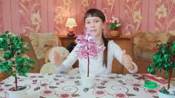 Как сделать сакуру из бисера и пайеток