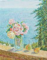 """""""Розы на фоне моря"""", 1998 г. (х. на орг., м.)"""