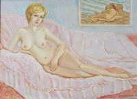 """""""Обнаженная на розовой накидке"""", 2001 г. (х., м.)"""